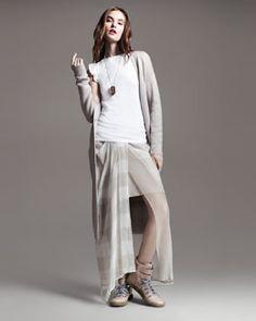 -47YB Brunello Cucinelli Long Paillette Duster, Flutter-Sleeve Tee & Jersey-Waist Striped Skirt