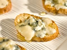 Bruschetta with Gorgonzola Cheese and Honey - Giada De Laurentiis from FoodNetwork.com    http://www.foodnetwork.com/recipes/giada-de-laurentiis/bruschetta-with-gorgonzola-cheese-and-honey-recipe/index.html