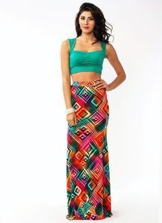 Geometric Mermaid Maxi Skirt