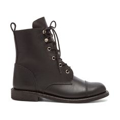 ANINE BING Combat Boots Shoes ($499) ❤ liked on Polyvore featuring shoes, boots, ankle booties, ankle boots, short boots, laced ankle boots, lace up booties and lace up boots