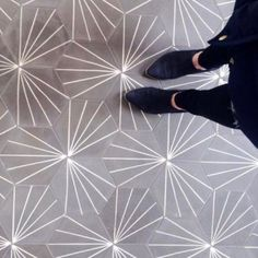 Cement Tile Shop - Encaustic Cement Tile Starburst Hex Natural Gray