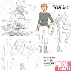 Concept art (and a possible story clue?) from Marvel Divas Face Illustration, Illustrations, Character Illustration, Drawing Cartoon Characters, Cartoon Sketches, Character Design Girl, Character Design References, Character Ideas, Science Fiction