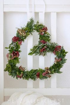 Lovely heart wreath with greenery & flowers—could work accross holidays❣ Wreath Crafts, Diy Wreath, Door Wreaths, Heart Wreath, Heart Ornament, Heart Garland, How To Make Wreaths, Holiday Wreaths, Dried Flowers