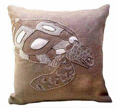 coastal burlap tortoise down filled pillow coastal burlap starfish ...