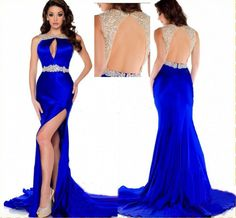 Royal Blue Prom Dress,Mermaid Prom Dress,Satin Prom Gown,Backless Prom Dresses,Sexy Evening Gowns,Slit Evening Gown,Open Back Party Dress,Split Formal Gowns For Teens