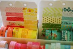 washi tape reference tags.