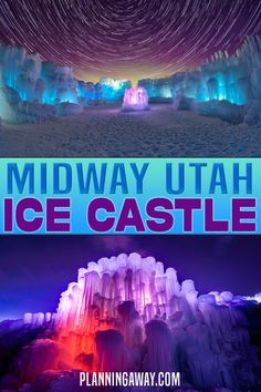 The Midway Ice Castle is a hand-crafted ice structure. There are tunnels and slides made of ice to explore. It really is a beautiful work of art. The ice castle is built entirely by hand using hundreds of thousands of icicles. The ice castle includes LED -lit ice sculptures (at night), ice thrones, ice carved tunnels, and slides. | Planning Away @planningaway #icecastle #saltlakecityutah #utahicecastle #familyvacationutah #wintervacationutah #planningaway