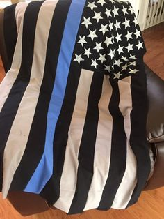 Thin Blue Line Police Officer-Throw/ Blanket by ZabesQuilts
