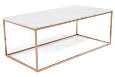 Sofabord Titania Hvit Marmor/Kobber 120x60x45 cm | Chilli.no