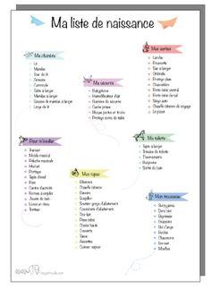 Free printable liste de naissance pour l'arrivée de bébé