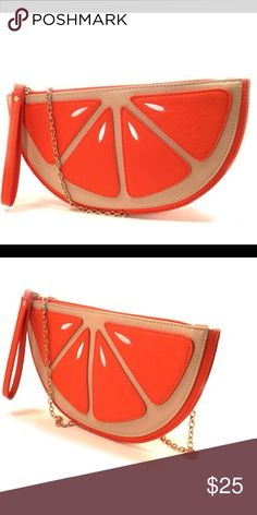 NWT Orange slice Clutch. PPC.3360 PPC-3360 Orange Add a little whimsy to your outfit with this charming Orange Slice Clutch that flaunts vibrant colors and a head-turning design. Details: • 9.5'' W x 5'' H x 1'' D • 23'' max. strap drop • Zip closure • Faux Leather • Removable and adjustable strap • Imported Bags Clutches & Wristlets