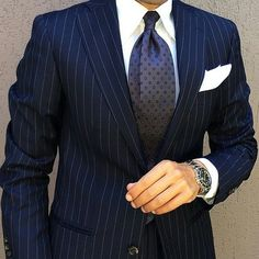 """A perfectly fitted pin-striped suit is hard to beat. My gentlemens, @danielre #luxuriousgarments"""