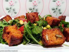 Salat mit selbstgemachten Croutons gibts bei Björn, weil sein selbstgebackenes Brot missglückt ist. Na bei dieser leckefren Alternative, ist das dann doch gar nicht mehr schlimm!