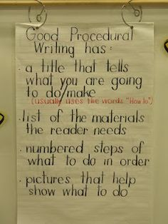 We are finishing up our latest work on instructional/procedural writing. I am posting our anchor chart and an example that we created toget. Writing Strategies, Writing Lessons, Writing Activities, Writing Ideas, Science Writing, Writing Goals, Language Activities, Teaching Writing, Procedural Writing