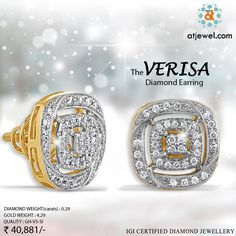 Design Of The Day.... ATJewel Presents Spring Season Special   Perfect Stunning,Beautiful Diamond Earrings ,Fit In Your Budget at Best Prize.Shop Now #ATJewel #Diamonds #Gold #Earrings #Stunning http://bit.ly/2k61lYr