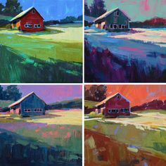 A Painting a Day by Patti Mollica: Color Fields Illustrating Color Theory .did this in a Skip Lawrence wkshp about 17 years ago. Art And Illustration, Illustrations, Landscape Art, Landscape Paintings, Landscapes, Instruções Origami, Color Script, Online Coloring, Color Studies
