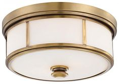 "Minka Lavery Harbour Point 4365-249 2 Light 120 watt (6""H x 13""W) Glass Flush Mountin Brass"