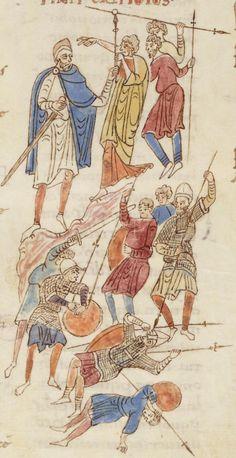 Illustration from the Roda Bible, c.1050-1100AD  Biblia Sancti Petri Rodensis. Ms Latin 6 (1) folio 099v  Debora sending Barak into combat/ Defeat of the army of Sisera