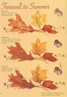 Painting autumn leaves and acorns.