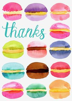 Margaret Berg Art: Macaroons+Thank+You Watercolor Logo, Watercolor Cards, Jewish Hanukkah, Happy Mother's Day Card, Mom Day, Happy Birthday Greetings, Mother And Father, Happy Mothers, Summer Recipes