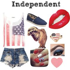 Like If You Would Wear This !! american flag tank top, pre ripped shorts, american flag design nails, messy pony tail with braid, navy toms, red lipstick, and american flag heart shaped ring.