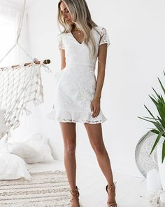 V Neck Party Dress, V-neck Party Dress, Party Dress Lace, Homecoming Dresses White, Lace White Party Dress Homecoming Dresses 2018 White Homecoming Dresses, Hoco Dresses, Formal Dresses, White Short Dress Graduation, High School Graduation Dresses, White Party Dresses, Short Casual Wedding Dresses, Mini Dresses, Homecoming Dresses Short Tight Sleeves