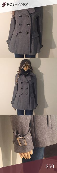 Express Pea Coat Gray coat with black buttons made of 51% wool, 29% polyester, 20% rayon. Classic style, great for fall! Express Jackets & Coats