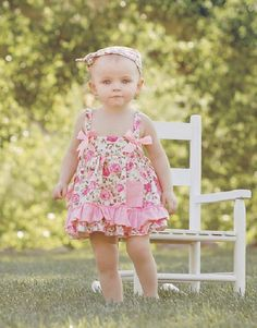 Vintage Rose Two Piece - Baby Girl Outfit - Swing Set Dress - Chic Shabby - Newborn - 18 Months Baby Girl Clothing-Infant-Child Little Girl Fashion, Kids Fashion, Frock Patterns, Little Baby Girl, Baby Baby, Toddler Girl Outfits, Toddler Girls, Princess Outfits, Vintage Roses