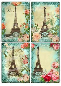 Eiffel tower April in Paris roses Vintage Shabby by KatarinaArt. , via Etsy. Vintage Paris, Retro Vintage, Vintage Images, Decoupage Vintage, Decoupage Paper, Tour Eiffel, Paris Eiffel Tower, Deco Paris, Paris Images