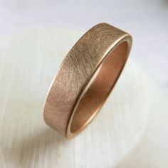 Rose gold wide wedding band for a man or woman. Handmade by Spexton with a unique brushed finish, and made from seamless pipe. Stronger than ordinary wedding bands. Gold Wedding Jewelry, Wedding Rings Rose Gold, Gold Jewelry, Gold Ring, Quartz Jewelry, Ring Ring, Silver Ring, Wide Wedding Bands, Wedding Men