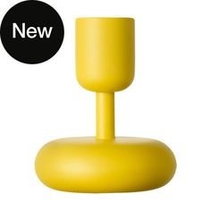 Iittala 'Nappula' candle holder in yellow 10.7cm