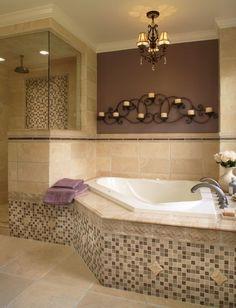 Small tiles, chandelier, change color scheme