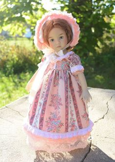 """SOLD """"Little Miss Rose""""Regency Dress,Outfit,Gown for 13""""Effner Little Darling-Lumi"""