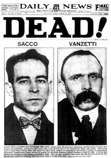 Front page of the Daily News dated Aug. After seven years delay, Nicola Sacco and Bartolomeo Vanzetti are executed at the Charlestown, Mass. state prison for the South Braintree payroll murders committed on April
