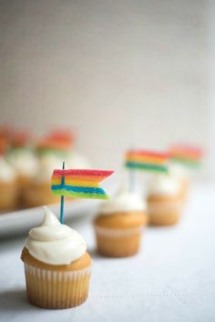 Simple and adorable, these Rainbow Flag cupcakes are delicious and super easy to make! All you need is the perfect cupcake, a toothpick and Airheads Xtremes!