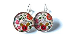 Flowers dangle earrings  colorful flowers by danslairdutemps