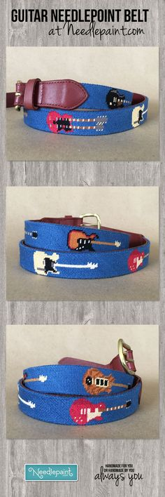 #Preppy #Guitar Rock and Roll #NeedlepointBelt with a navy blue background.  Each guitar is famous!  Can you name the musicians who play them?