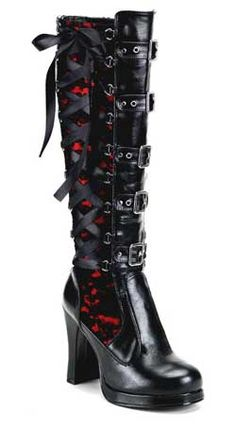 4 inch platform heel black Pu boots with red/black lace corset ribbon and buckle design.