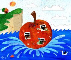 James and the Giant Peach (Roald Dahl) +++ illustration by Daniela Faber 2016 +++ fruit water sea ocean cliff dover boy orphan worm spider ladybird grasshopper centipede seagull orange peachy