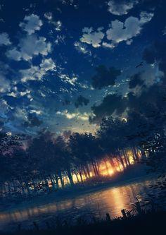 誰からも見られないまま暮れていった景色が沢山あったんだろうなと。言ったらキリが無いことなんですけれど #illustration#forest#sunset