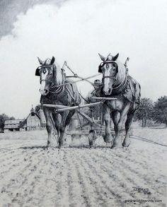 Artist Derk Hansen Unframed Farming Plowing Art Print Hanging On | WildlifePrints.com