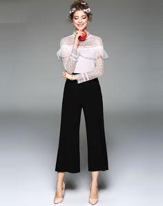 #AdoreWe #VIPme Jumpsuits & Rompers - TOO TANG Black Contrast Color Flounce Semi Sheer Jumpsuit - AdoreWe.com