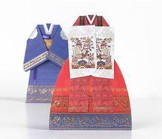 Hanbok korean traditional wedding dress card set