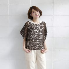 Over-Size Tops Lace Cotton Ylang-ylang Brown Color-www.tanbagshop.com