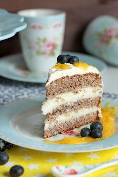 Nuss-Pudding-Torte mit Mango (#glutenfrei) Muffins, Cupcakes, Spring Recipes, Dairy Free Recipes, Sans Gluten, International Recipes, Creative Food, Diy Food, Free Food