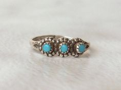 Southwest turquoise ring  Sterling silver      Stack ring    Size 3 by GemstoneCowboy on Etsy