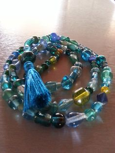 Under the Sea Glass 108 Bead Mala-infused with Reiki energy for tranquility and whimsy