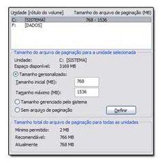 Como configurar a memória virtual adequadamente - http://www.blogpc.net.br/2009/10/conheca-e-saiba-usar-memoria-virtual.html