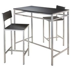 3 piece hanley set high table with 2 stools gray