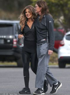 Bonding: Bruce Jenner and Khloe Kardashian were spotted with their arms wrapped one another as they were seen together on an outing in Pismo Beach, California on Wednesday